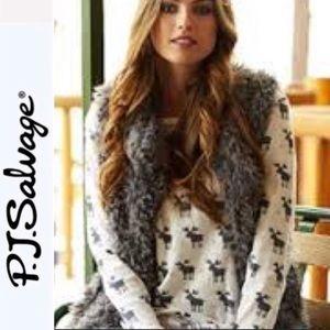 PJ Salvage Shaggy Faux Fur Vest